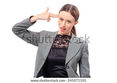 Young caucasian business woman hand gun gesturing, isolated on white background - stock photo