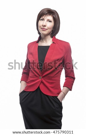 Young Caucasian Business Woman Natural Portrait. Posing Against White. Vertical Image Orientation