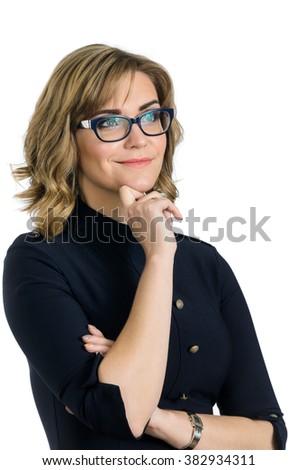 young caucasian business woman portrait - stock photo