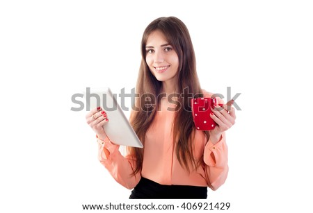 young caucasian business woman with coffee cup and tablet isolated on white - stock photo