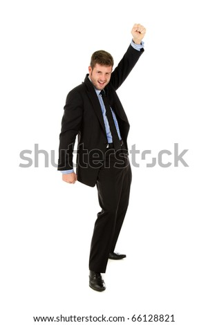 Young caucasian businessman, cheerful man winner who is celebrating his victory. Studio shot. White background. - stock photo