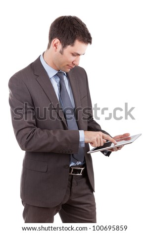 Young caucasian businessman using a tablet pc,isolated on white background - stock photo