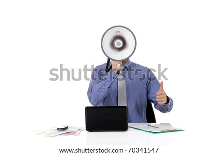 Young caucasian businessman with a megaphone in front face, thumb up. Studio shot. White background. - stock photo