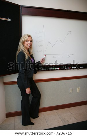 Young caucasian businesswoman ready for days work - stock photo