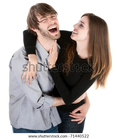 Young Caucasian couple enjoying each others company - stock photo