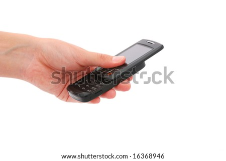 Young caucasian female hand holding a black cellphone. Image isolated on white background.