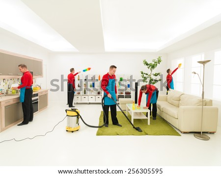 young caucasian handsome man cleaning living room in different places at the same time, digital composite image - stock photo