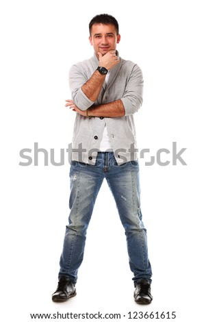 Young caucasian handsome man isolated over white background - stock photo