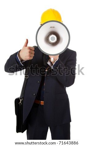 Young caucasian man architect with helmet and briefcase on shoulder. Megaphone in front face and thumb up. Studio shot. White background. - stock photo