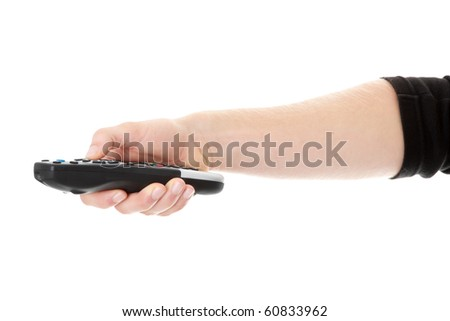 Young caucasian man changing channels , isolated on white - stock photo
