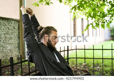 Young Caucasian man enjoying outdoor.  - stock photo