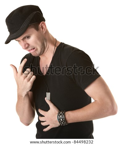 Young Caucasian man gestures to puke over white background - stock photo