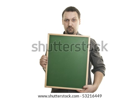 Young caucasian man holding a small blackboard in the hands - stock photo
