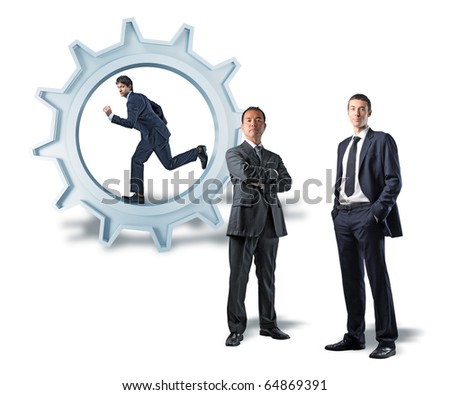 young caucasian man run on 3d gears  and other business people - stock photo