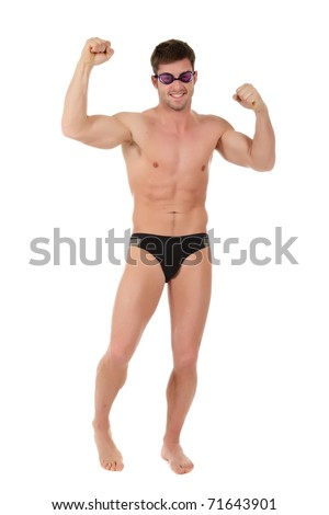 Young caucasian man swimmer with hands up wearing goggles. Victorious moment. Studio shot. White background - stock photo