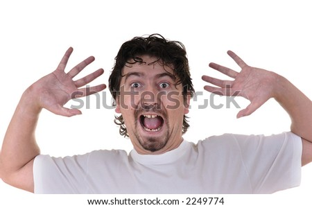 young caucasian man terrified in a white background - stock photo