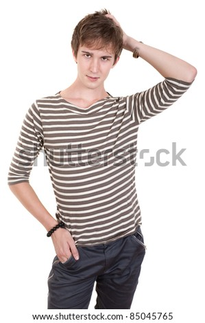 Young Caucasian man with hand on head over white background - stock photo