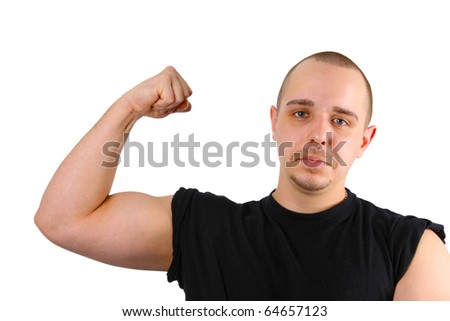 Young caucasian men shows biceps isolated on white background