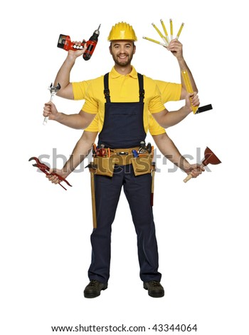 young caucasian smiling handyman show his skill - stock photo