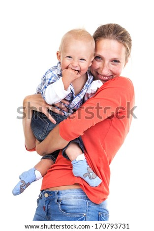 Young Caucasian woman and her baby son over white  - stock photo