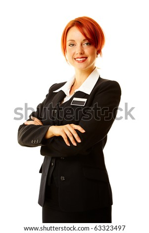 young caucasian woman as hotel worker smiling - stock photo