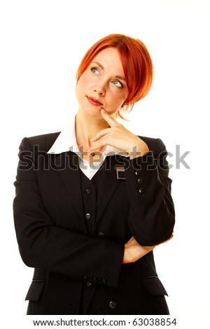 young caucasian woman as hotel worker thinking - stock photo
