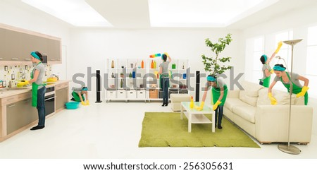 young caucasian woman cleaning home in different places at the same time - stock photo