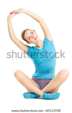 young caucasian woman doing fitness exercises, isolated on white - stock photo