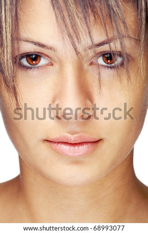 Young caucasian woman hairstyle ,closeup,vertical - stock photo