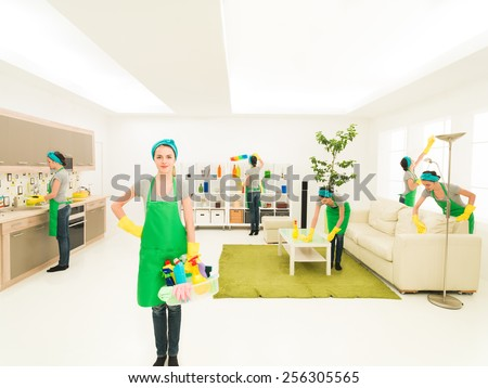 young caucasian woman happy while cleaning house - stock photo