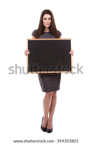 young caucasian woman holding a chalboard on white background