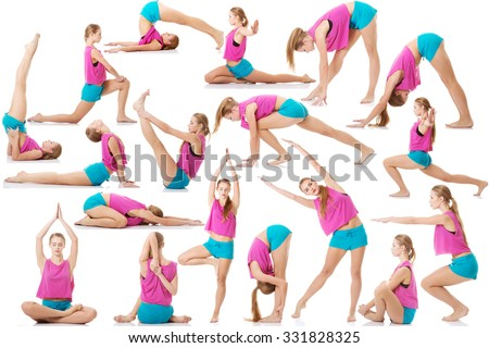 Young caucasian woman is doing exercises, wearing sportswear.  - stock photo