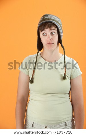 Young Caucasian woman lost in her dream world - stock photo