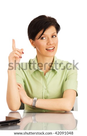 young caucasian woman over white background