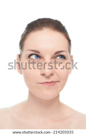 Young caucasian woman portrait with a pensive thinking facial expression, isolated over the white background, natural make up and postprocessing
