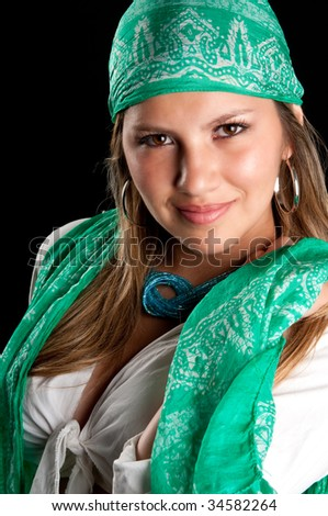 Young caucasian woman smiling very sensual. - stock photo