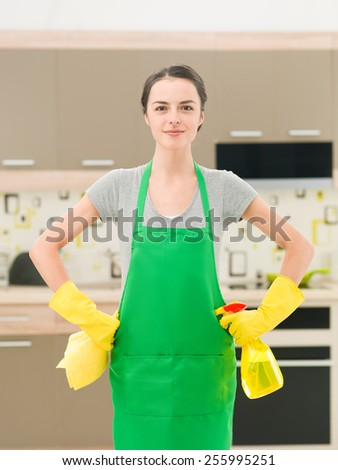 young caucasian woman standing in kitchen, holding cleaning products beeing proud - stock photo