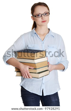 Young caucasian woman (student) with books - stock photo