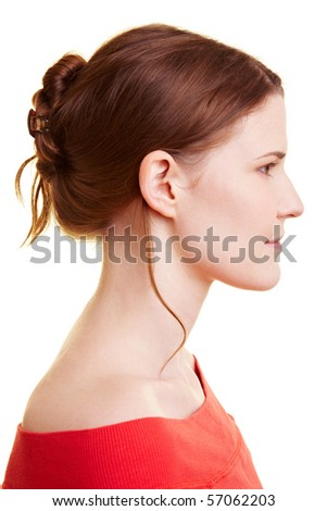 Young caucasian woman with an updo hair style