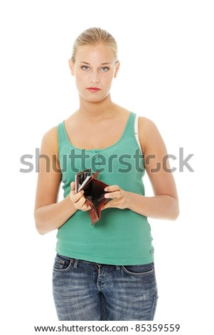 Young caucasian woman with empty wallet - broke . Isolated on white background. - stock photo
