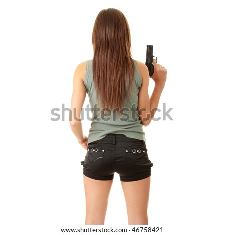 Young caucasian woman with gun, isolated on white background