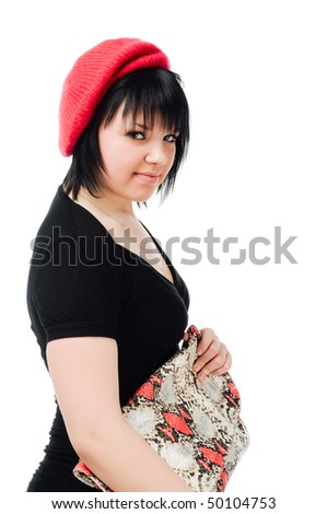 Young caucasian woman with handbag isolated on white background