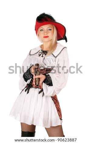 Young charming blonde with gun dressed as pirates - stock photo