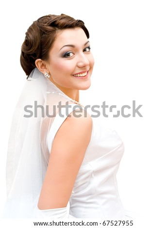 young charming bride looks into camera, isolated - stock photo