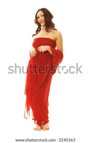 Young charming woman in red. Isolated on white.