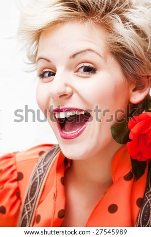 Young cheerful blonde close portrait. - stock photo