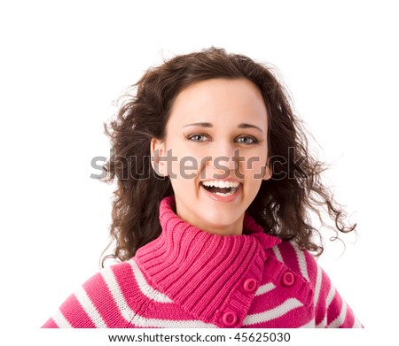 Young cheerful brunette woman portrait isolated on white