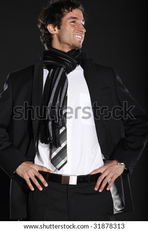 Young Cheerful Business Man - stock photo