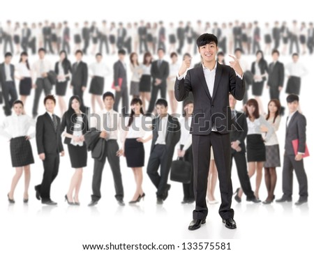 Young cheerful businessman of Asian point at himself and stand in front of huge group business people on white background. Concept of cheerful, confident, successful and volunteer idea. - stock photo