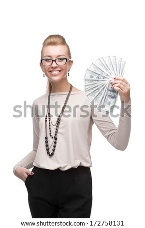 young cheerful caucasian businesswoman holding money isolated on white